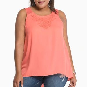 Torrid Sleeveless Coral Blouse Embroidered Detail